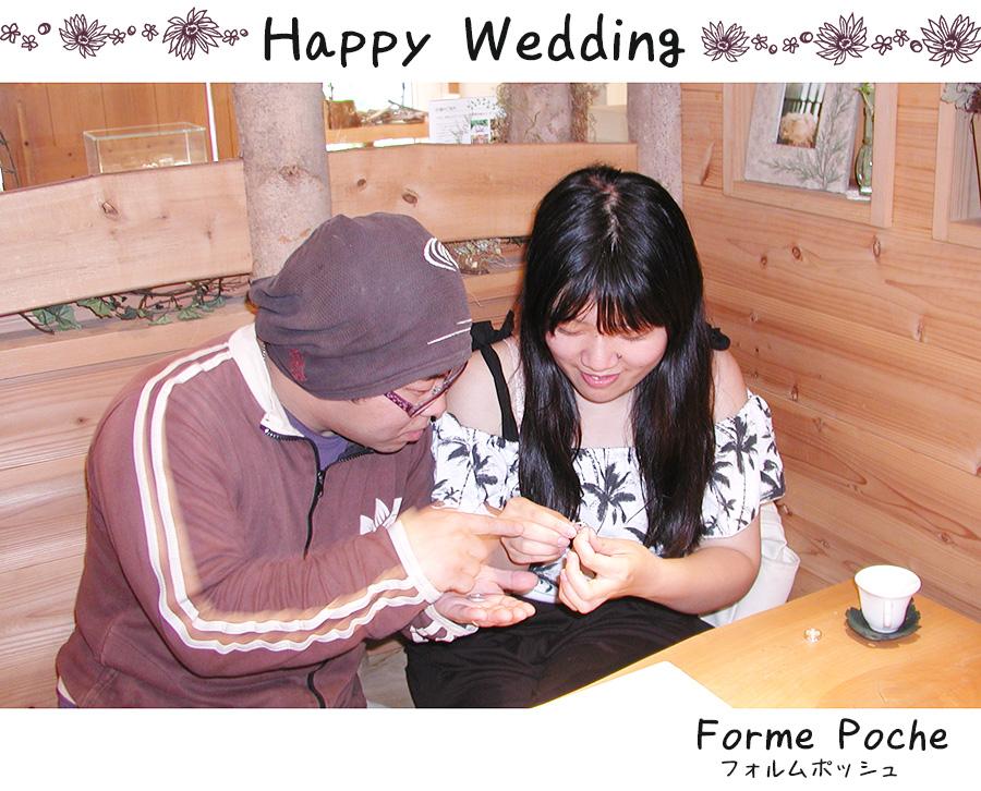 hi170911w1102-2 オリジナルの結婚指輪 大阪 お花 自筆 イニシャル クローバー