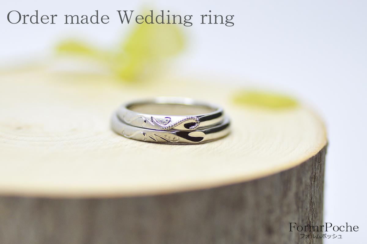 170908w1101-3 オーダーメイドの結婚指輪 大阪 タガネ彫り イニシャル 華奢