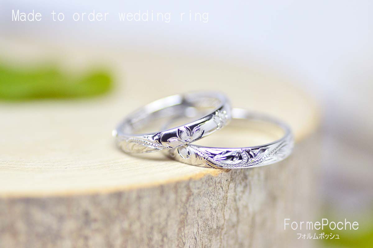 hi170917w1105-R2 オーダーメイド結婚指輪 彫り 桜 ハワイアンリング