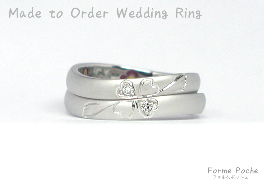 hi170911w1102-3 オリジナルの結婚指輪 大阪 お花 自筆 イニシャル クローバー Diamond
