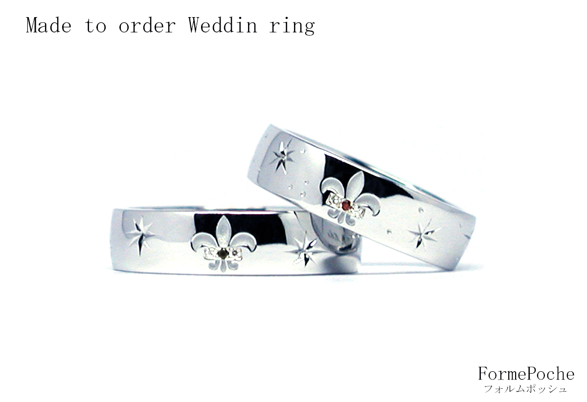 hi170928w1109-2オーダーメイド結婚指輪 百合の紋章 ダイヤ 星 幅広