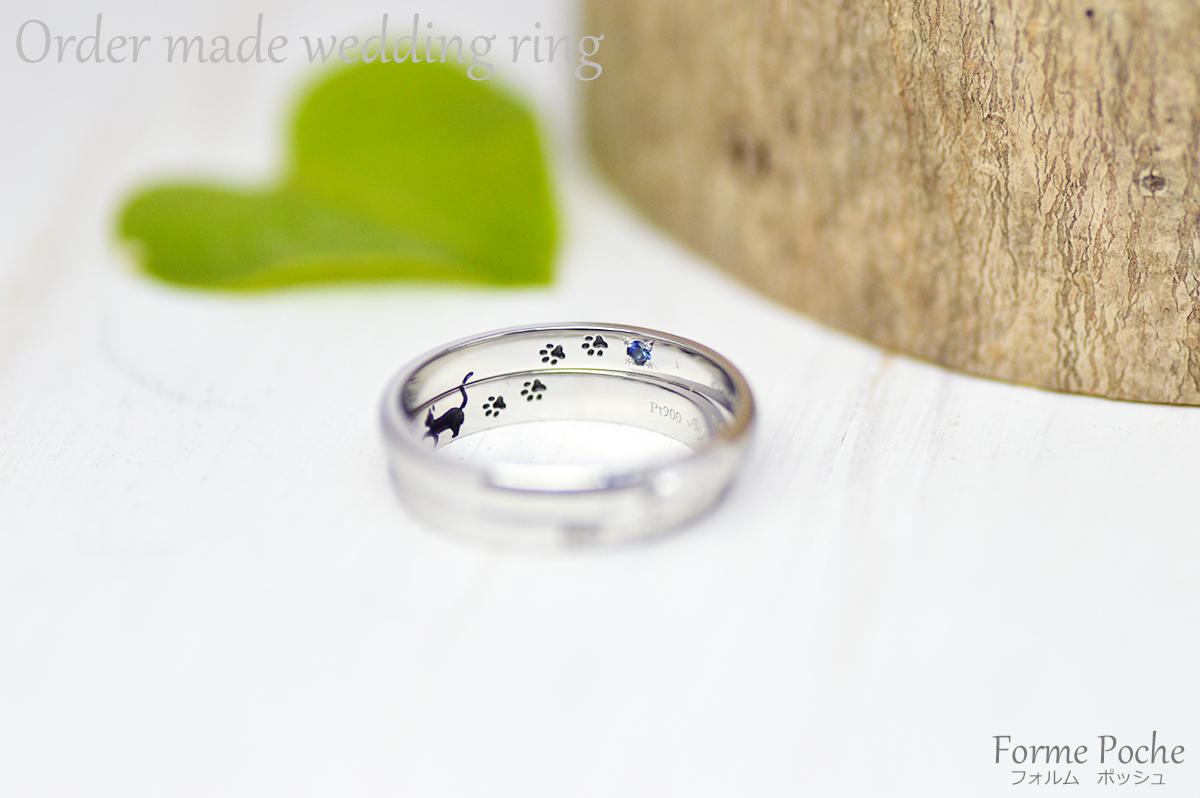 hi171112w1115 オーダーメイド結婚指輪 大阪 内彫り カピバラ ネコ 誕生石 R02