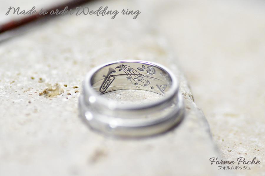 hi171105w1114-R2 オーダーメイドの結婚指輪 内側 刻印 楽器 音符 音楽