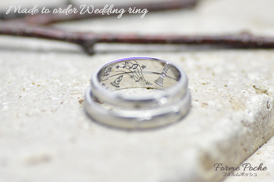 hi171105w1114-R3 オーダーメイドの結婚指輪 内側 刻印 楽器 音符 音楽 クラリネット