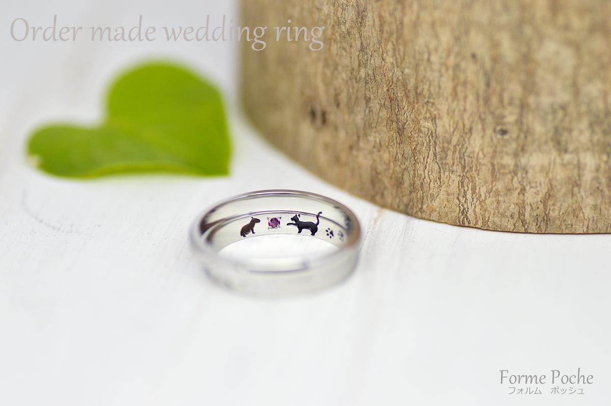 hi171112w1115 オーダーメイド結婚指輪 大阪 内彫り カピバラ ネコ 誕生石