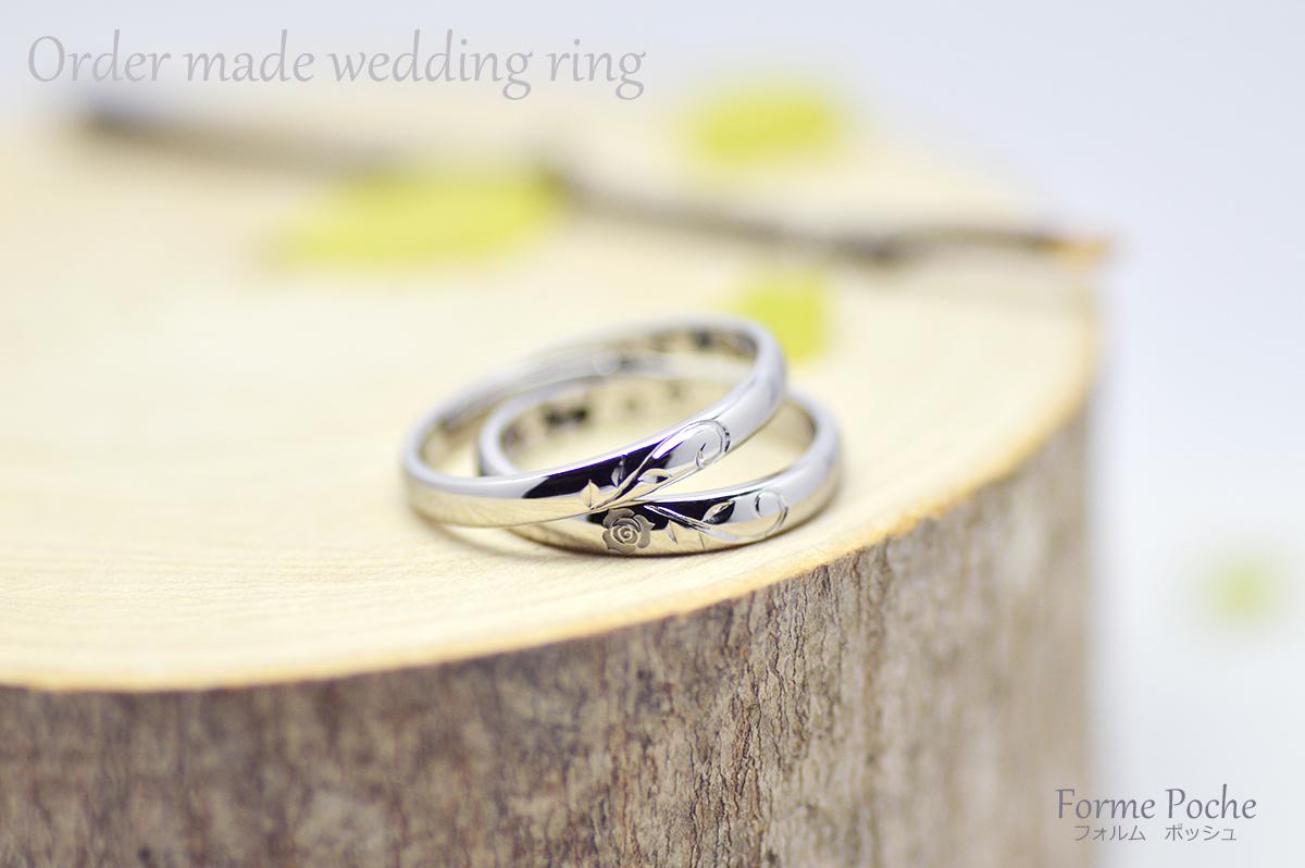 hi171112w1115 オーダーメイド結婚指輪 大阪 手彫り 薔薇 R01