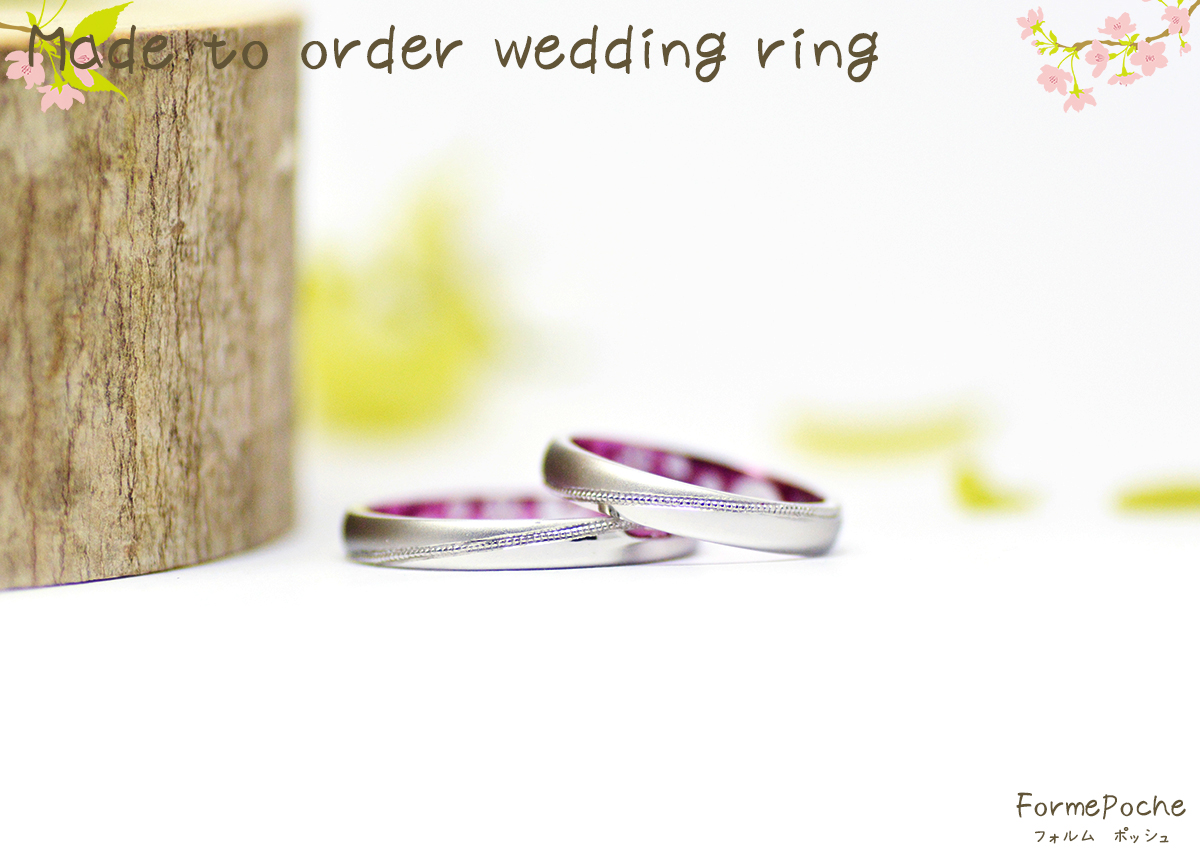 hi180305w1118-R1 オーダーメイド結婚指輪 関西 桜 ミルグレイン シンプル ナチュラル