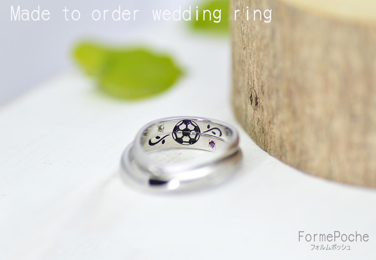hi180315w1121指輪04 オーダーメイドの結婚指輪 刻印 サッカー ボール 黒