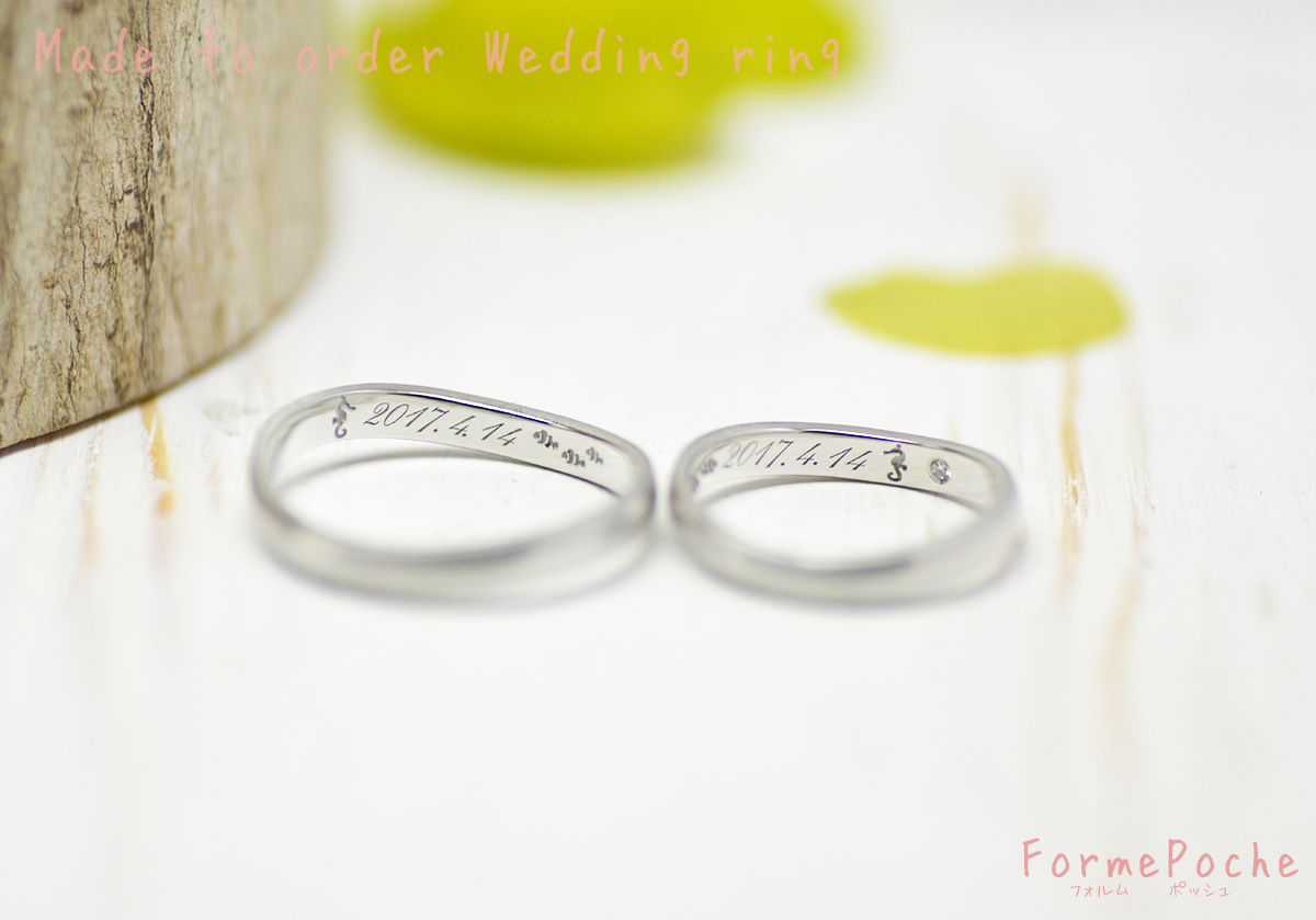 hi180521 w1224-Rin03 オーダーメイドの結婚指輪 関西 刻印 ナチュラル シンプル