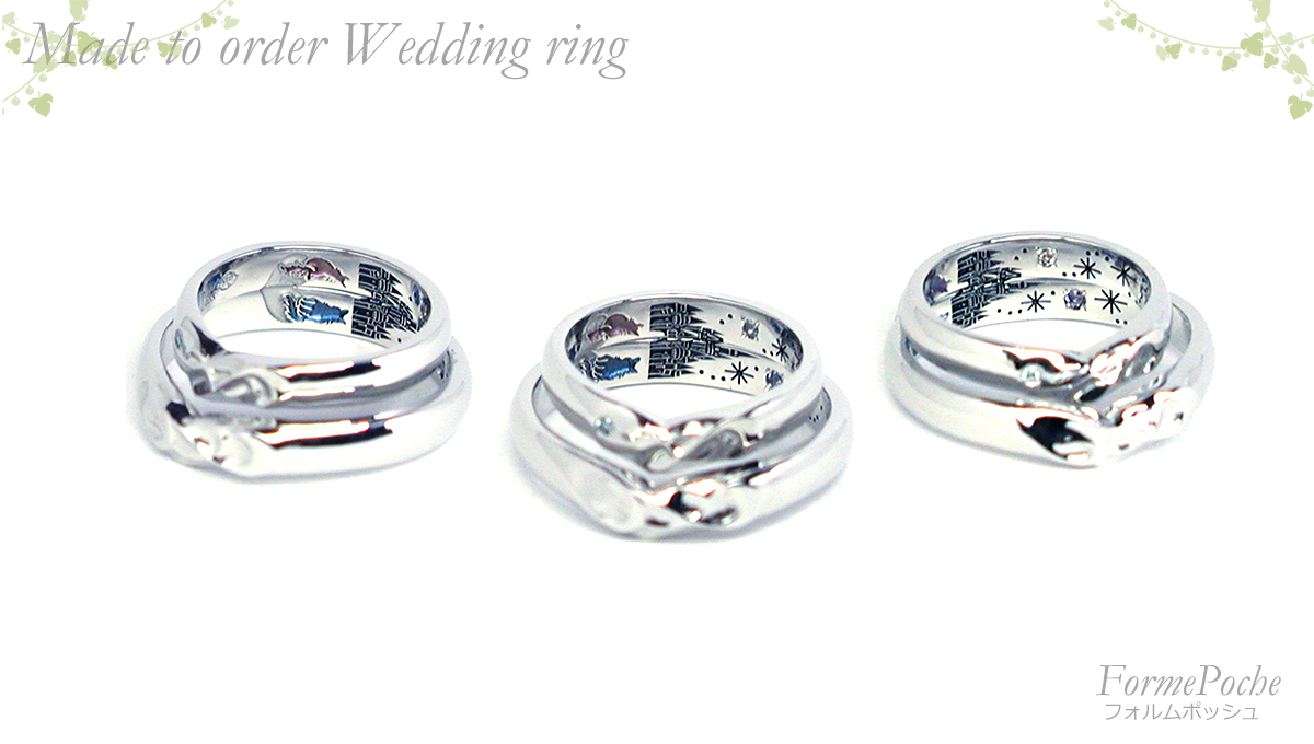 hi180420w1136-R2 オーダーメイドの結婚指輪 ネコとお城の刻印 イニシャル