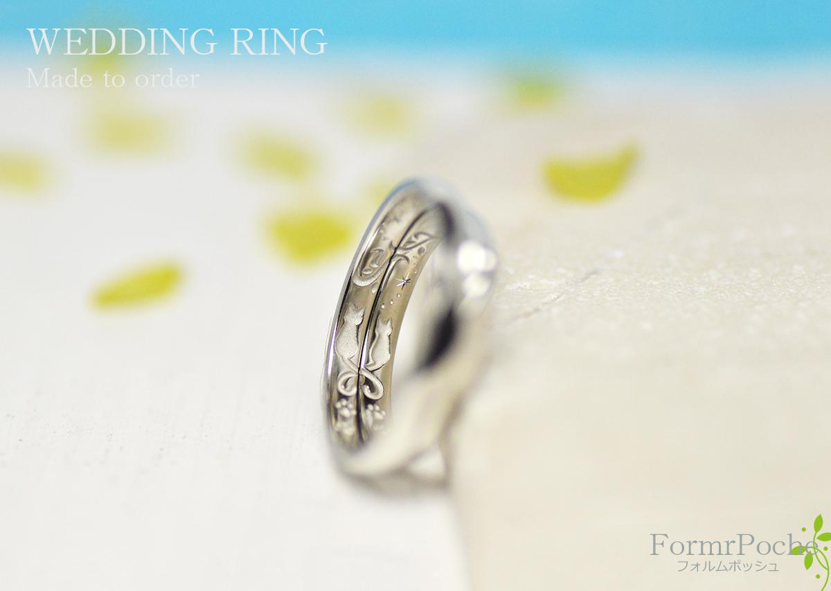 hi180409w1126 -2オーダーメイドの結婚指輪 大阪 刻印 ネコ heart イニシャル 星