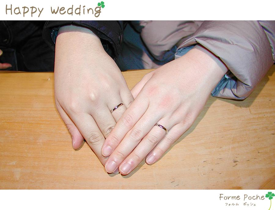hi180426w1138-1 オーダーメイドの結婚指輪 ネコ 柚子 刻印 イニシャル クローバー