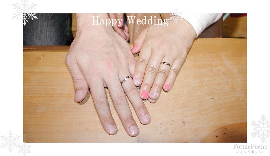 hi180608w1150-1 結婚指輪 手作り  オーダーメイド 裏側 刻印 猫 雪 馬