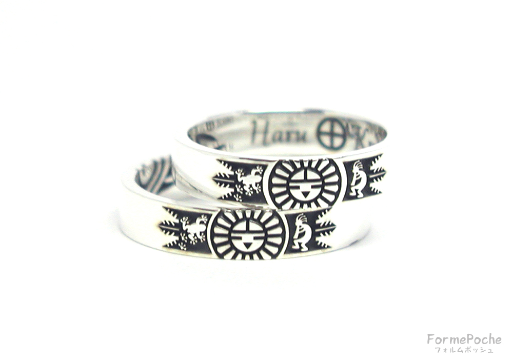hi180602w1147-ring5 手作り結婚指輪 オリジナル結婚指輪 インディアン ココペリ カエル サンフェイス