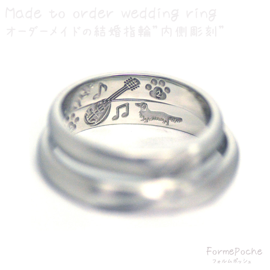 hi180722w1161-結婚指輪 イニシャル 猫 ダックスフント 犬 楽器-3