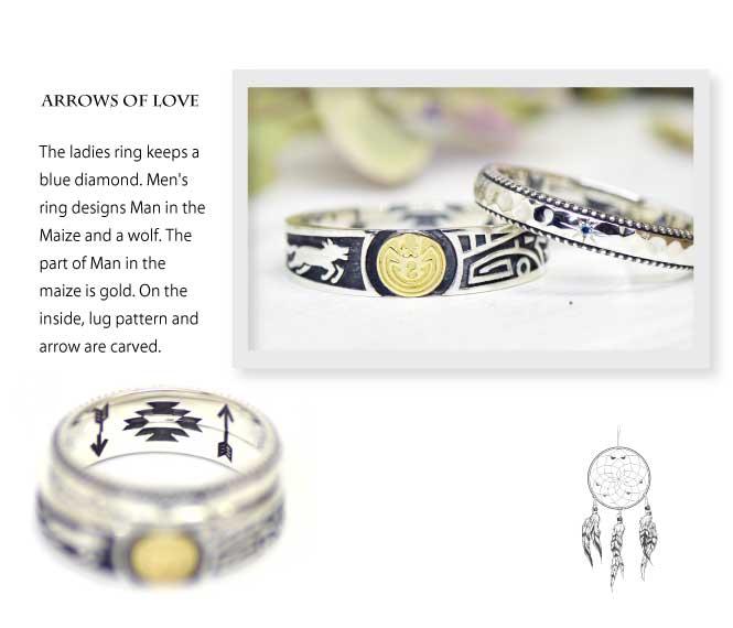 インディアンジュエリーの結婚指輪にマンインザメイズとオオカミ