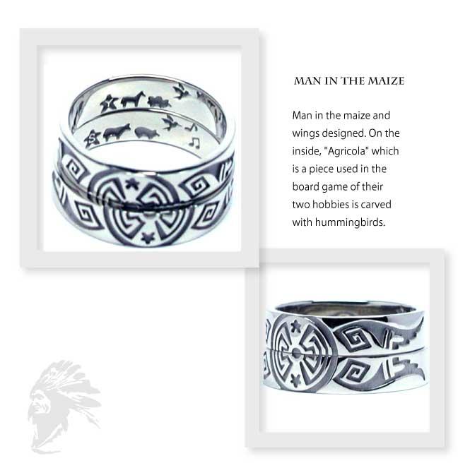 インディアンジュエリーの結婚指輪にマンインザメイズと翼