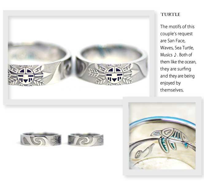 インディアンジュエリーの結婚指輪にサンフェイスと波とウミガメ