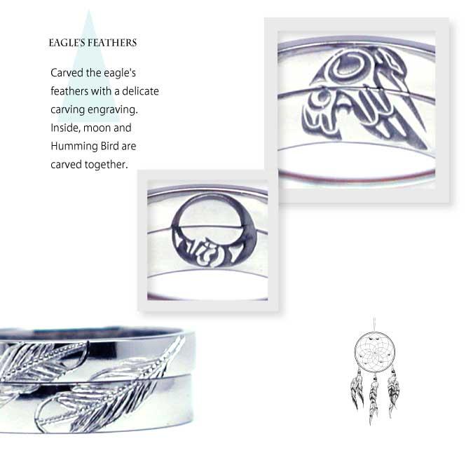 インディアンジュエリーの結婚指輪にイーグルの羽とハミングバード