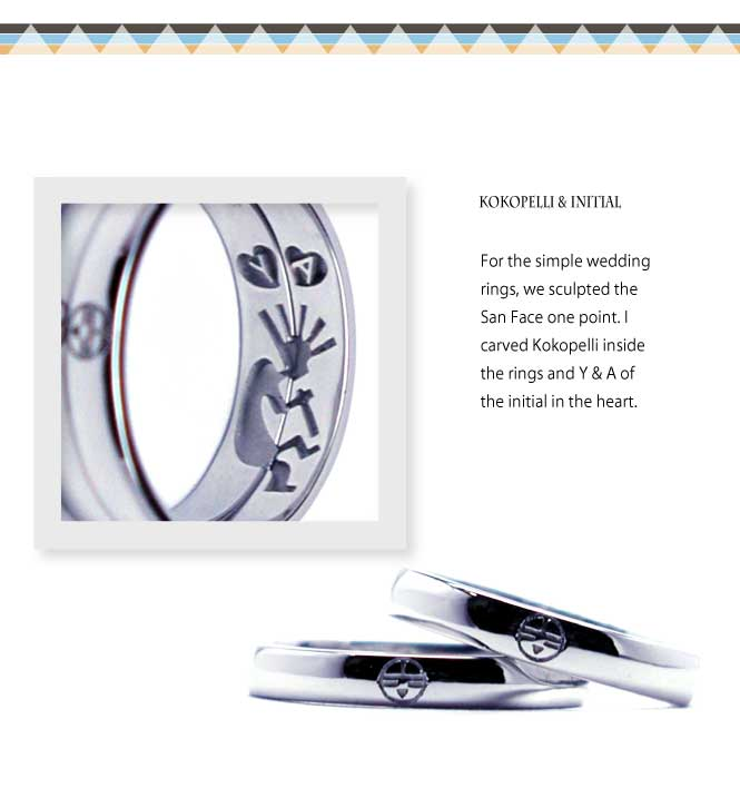 インディアンジュエリーの結婚指輪にココペリとサンフェイス