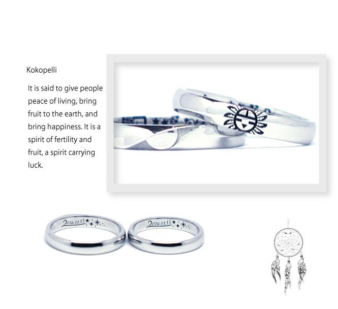インディアンジュエリーの結婚指輪にサンフェイスと星