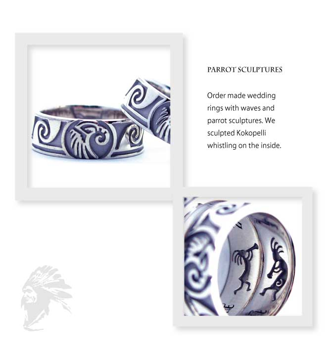 インディアンジュエリーの結婚指輪にココペリと波とオウム