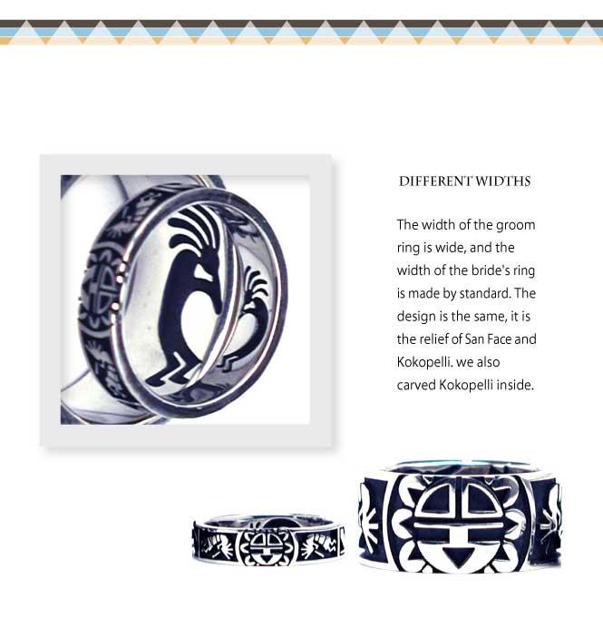 インディアンジュエリーの結婚指輪にサンフェイスとココペリ