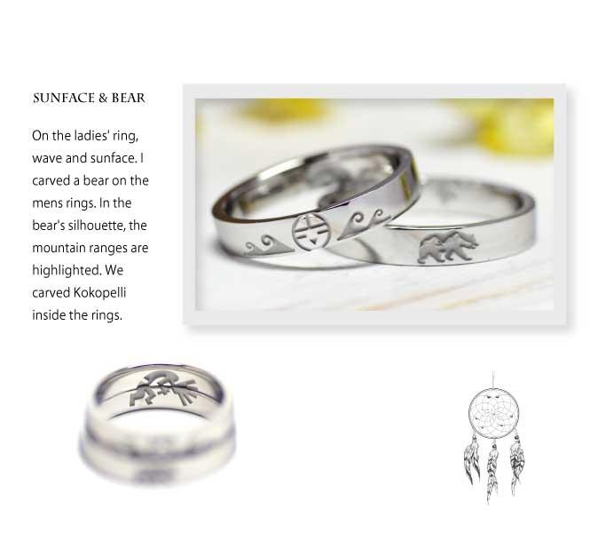 インディアンジュエリーの結婚指輪に波とサンフェイスと熊