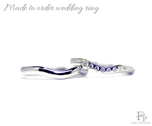 オーダーメイドの結婚指輪に手書きのイラストを刻印w1177 フォルム