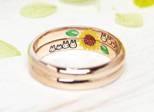 ひまわりとうさぎを描いた結婚指輪-whm018