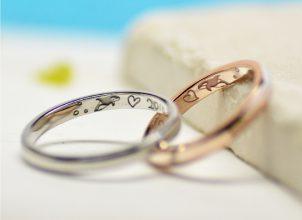 シャチと記念日を手描きした結婚指輪-whm001