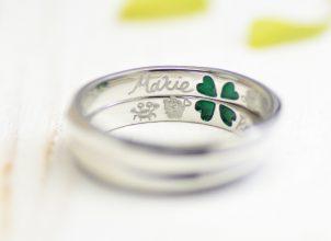 オリジナルキャラクターを彫刻した結婚指輪whm002