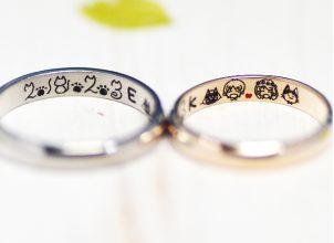 ネコと似顔絵を手描きした結婚指輪‐whm011