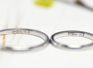 オリジナルマークを手描きした結婚指輪‐whm010