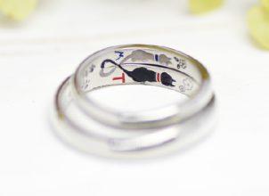 ネコハートを手描きした結婚指輪-whm016