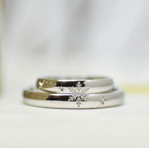 雪山での出会いを記念した結婚指輪