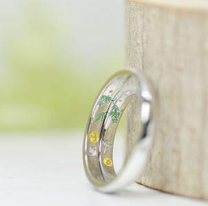愛鳥と笹と月の手描き彫刻した結婚指輪