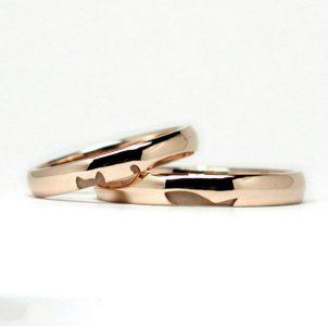 猫と魚のピンクゴールドの結婚指輪
