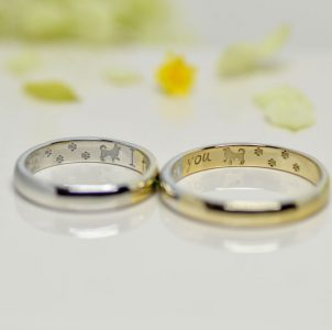 ふたりで描いた愛犬を刻印した結婚指輪