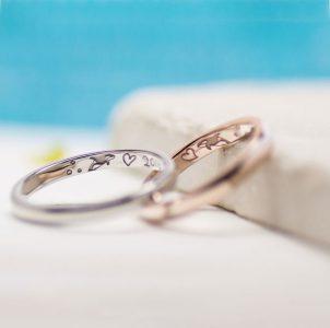 名古屋港水族館の思い出のシャチを手描きした結婚指輪