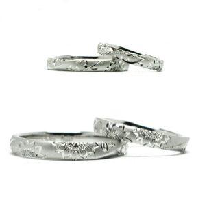 ひまわりをタガネ彫した結婚指輪