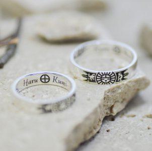 インディアンモチーフの結婚指輪
