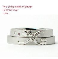 クローバーにイニシャルとハートをデザインした結婚指輪