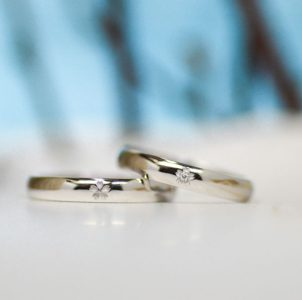 桜一輪の結婚指輪
