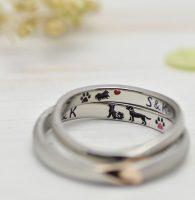 柴犬とラブラドールとポメラニアンを彫刻した結婚指輪