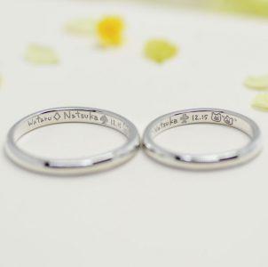 スペードや三つ葉や子ブタなど好きなモチーフを手描きした結婚指輪