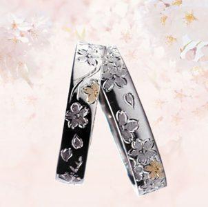 満開の桜のタガネ彫にピンクゴールドを象嵌した結婚指輪