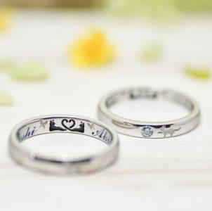 猫と蝶を刻んだ結婚指輪