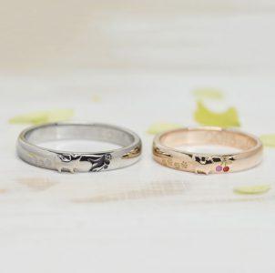 愛犬とシャチとサクランボをデザインした結婚指輪