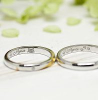 愛猫と名前の手描きを刻印した結婚指輪